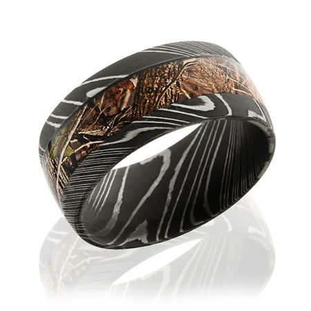 Unique Damascus Steel and Camo Wedding Band 10mm wide