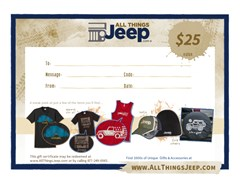 $25 All Things Jeep Gift Certificate