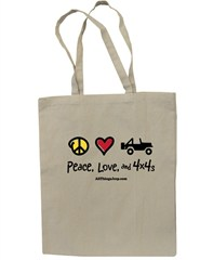 All Things Jeep Peace, Love, and 4X4's Canvas Tote