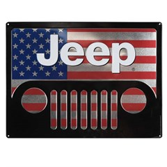 American Flag Jeep Grille Embossed Tin Sign