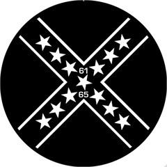 Black Confederate Design - 6 Inch Fog Light Covers (Pair)