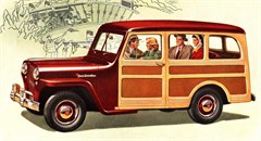 """Jeep Poster 1948 Willys Overland Jeep Wagon Artwork, 18"""" x 24"""""""