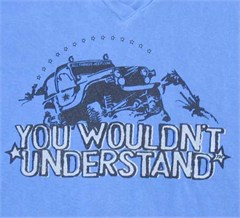"""""""You Wouldn't Understand"""" Women's V-Neck Tee (Blue)"""