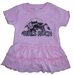 """""""Girls Rock""""  Pink Infant /Toddler Romper Dress"""