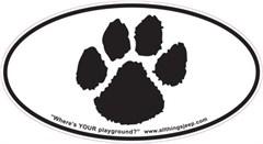 "Dog Paw Print Oval ""Euro-Style"" Sticker"
