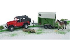 Jeep Wrangler Unlimited w/ horse trailer & horse