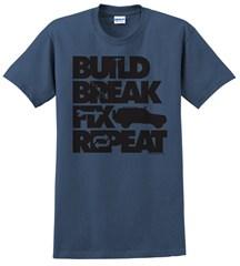 """Build, Break, Fix, Repeat"" Unisex Short Sleeved Shirt with Cherokee"