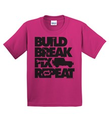 Build, Break, Fix, Repeat Youth Tee with Wrangler
