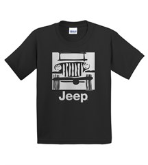 Traditional Camp Jeep Logo Youth T-Shirt, Black