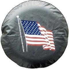 Simple American Flag Spare Tire Cover, Black Vinyl