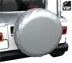 "Spare Tire Cover for 28"" x 8"" Tires Diamond Plate Silver by VDP"