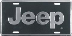 "Jeep Logo License Plate - Silver and Black ""Super Stock"""