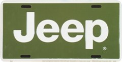 "Jeep Aluminum License Plate - Green with ""Jeep"" Name"