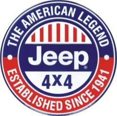 Round Jeep Sign: Jeep 4x4 The American Legend