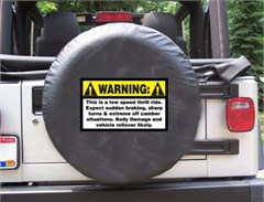 Warning: Low Speed Thrill Ride Black Spare Wheel Cover