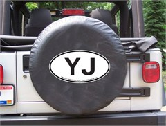 YJ Oval Design on Black Spare Wheel Cover