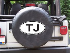 TJ Oval Design on Black Spare Wheel Cover