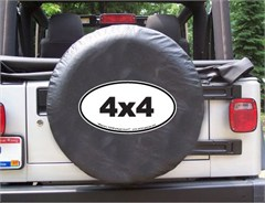 4x4 Oval Design on Black Spare Wheel Cover