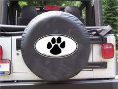 Dog Paw Print Oval Design on Black Spare Wheel Cover