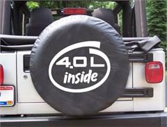 4.0L Inside Oval Design on Black Spare Wheel Cover