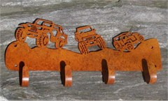 Scenic Jeep Coat Rack / Gear Rack, Rustic Metal Finish