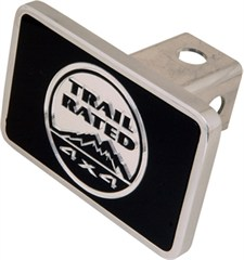 """Aluminum Trailer Hitch Cover with """"Trail Rated"""" Logo"""
