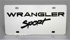 Jeep Wrangler Sport License Plate, Stainless Steel