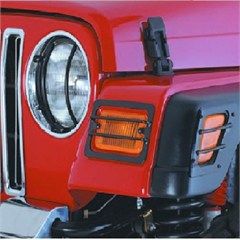 Black 6 Piece Euro Front Light Cover Kit for Jeep Wrangler (97-06