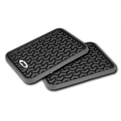 Universal Floor Liner with Jeep Logo Rear in Black by Rugged Ridge