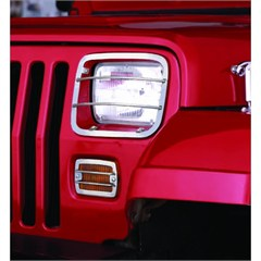 Stainless Headlight and Turn Signal Guards for Jeep Wrangler YJ