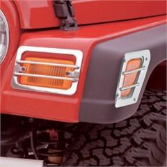 4 Piece Stainless Front, Parking Light Guard-Jeep Wrangler TJ,LJ