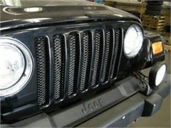 Single Piece Formed Steel Grille, Black Powder Coat for Jeep TJ