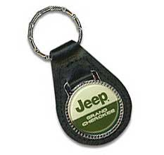 Jeep Grand Cherokee Key Ring (Green/White on Black Leather)