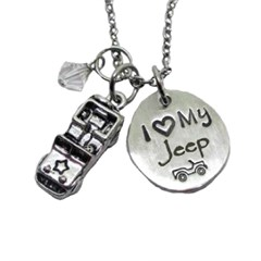 I Love My Jeep Charm Necklace