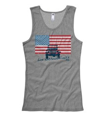 """Closeout: 2XL Only Jeep American Flag """"Live Without Limits"""" Junior's Gray Tank"""