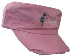 Jeep Cadet Hat in Light Pink with Flowers