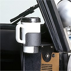 Black Windshield Mounted Cup Holder for Jeep CJ, YJ