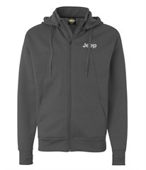 Jeep Embroidered Convertible Full Zip Polytech Jacket, Gray