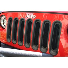 Grille Insert for Jeep Wrangler JK 2007-2018 in Black by Rugged Ridge