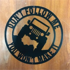 Jeep Laser Silhouette Sign Don't Follow Me