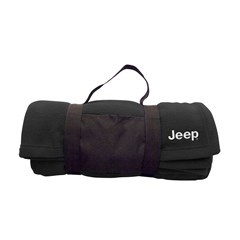 Jeep Embroidered Fleece Blanket w/ Carrying Strap, Black