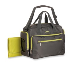 Jeep Perfect Pockets Duffle Diaper Bag, Gray/Lime