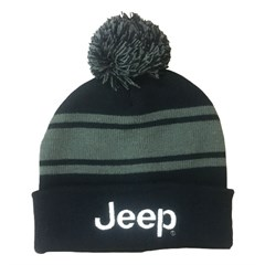 Jeep Pom Pom Beanie Knit Hat -Navy with Grey Stripes