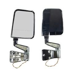 Chrome Door Mirror Kit Led Light Dual Focus-Jeep YJ,TJ 1987-2002
