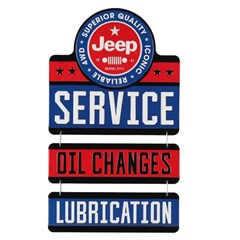 Jeep Service-Oil Changes Linked Metal Sign