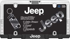New Jeeper Gift Set - Jeep Logo License Plate Frame, Decal, and Keychain