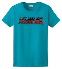 """Closeout- (XL Only) """"My Jeep is Awesome"""" Women's Tee  - Caribbean Blue"""