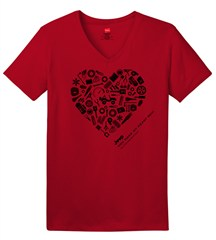 """""""You Make My Heart Rev"""" Women's V-neck Short Sleeved Shirt in Red"""