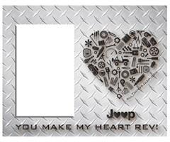 """You Make My Heart Rev"" Jeep Heart Diamond Plate Finish Frame"