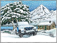 """Holiday Cards featuring a Snow Covered Jeep - """"Seasons Greetings"""""""